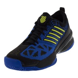 Men`s Knitshot Tennis Shoes Black and Strong Blue