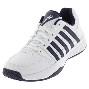 Men`s Court Smash Tennis Shoes White and Navy