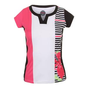 Women`s Verona Cap Sleeve Tennis Top White and Hibiscus