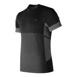 Men`s Stretch Short Sleeve Tennis Top Black