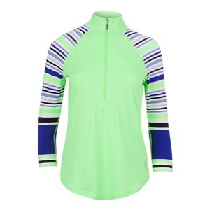 Women`s 3/4 Sleeve Raglan Mock Tennis Top Honeydew