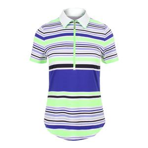 Women`s Tipped Tennis Polo Mai Tai Stripe
