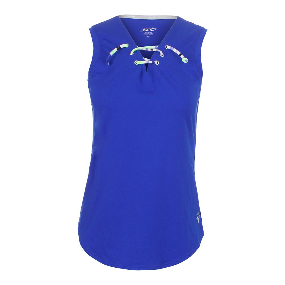 Women's Lace- Up Tennis Tank Blueberry