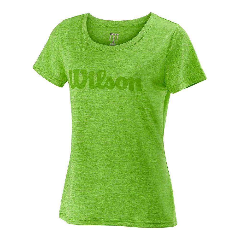 Women's Urban Wolf 2 Script Tech Tennis Tee Heathered Blade Green