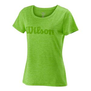Women`s Urban Wolf 2 Script Tech Tennis Tee Heathered Blade Green