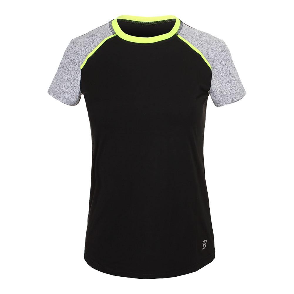 Women's Rally Short Sleeve Tennis Top Black