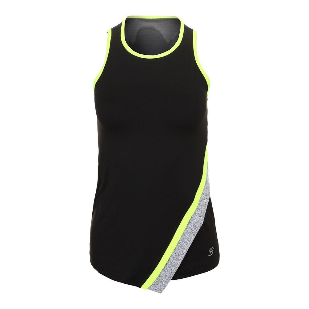 Women's Asymmetric Tennis Tank Black