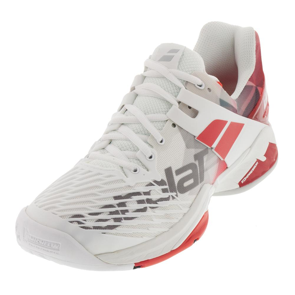 Men's Propulse Fury All Court Tennis Shoes White And Chinese Red