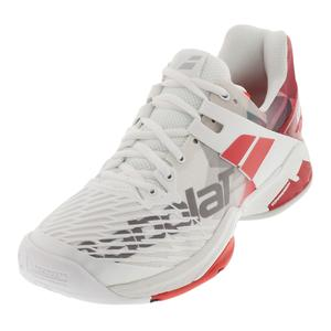 Men`s Propulse Fury All Court Tennis Shoes White and Chinese Red