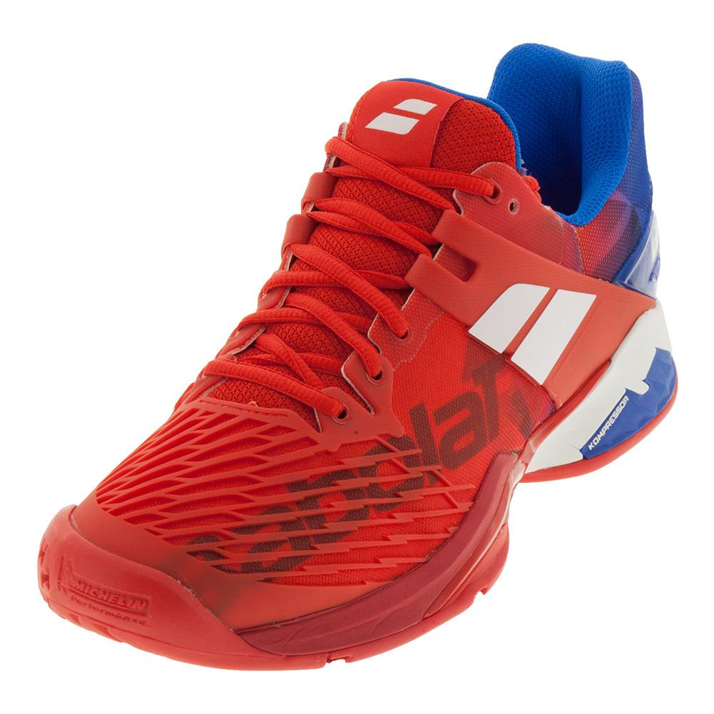 Men's Propulse Fury All Court Tennis Shoes Bright Red And Electric Blue