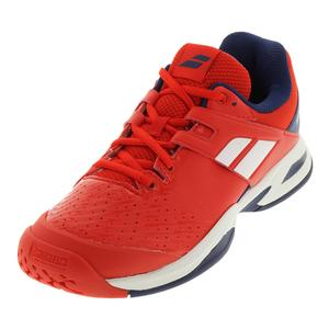 Juniors` Propulse Fury All Court Tennis Shoes Bright Red and Estate Blue