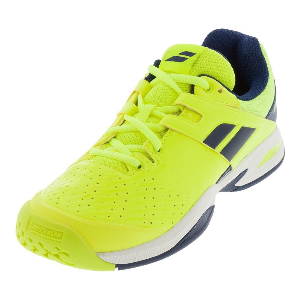 Juniors ` Propulse Fury All Court Tennis Shoes Fluo Yellow And Estate Blue