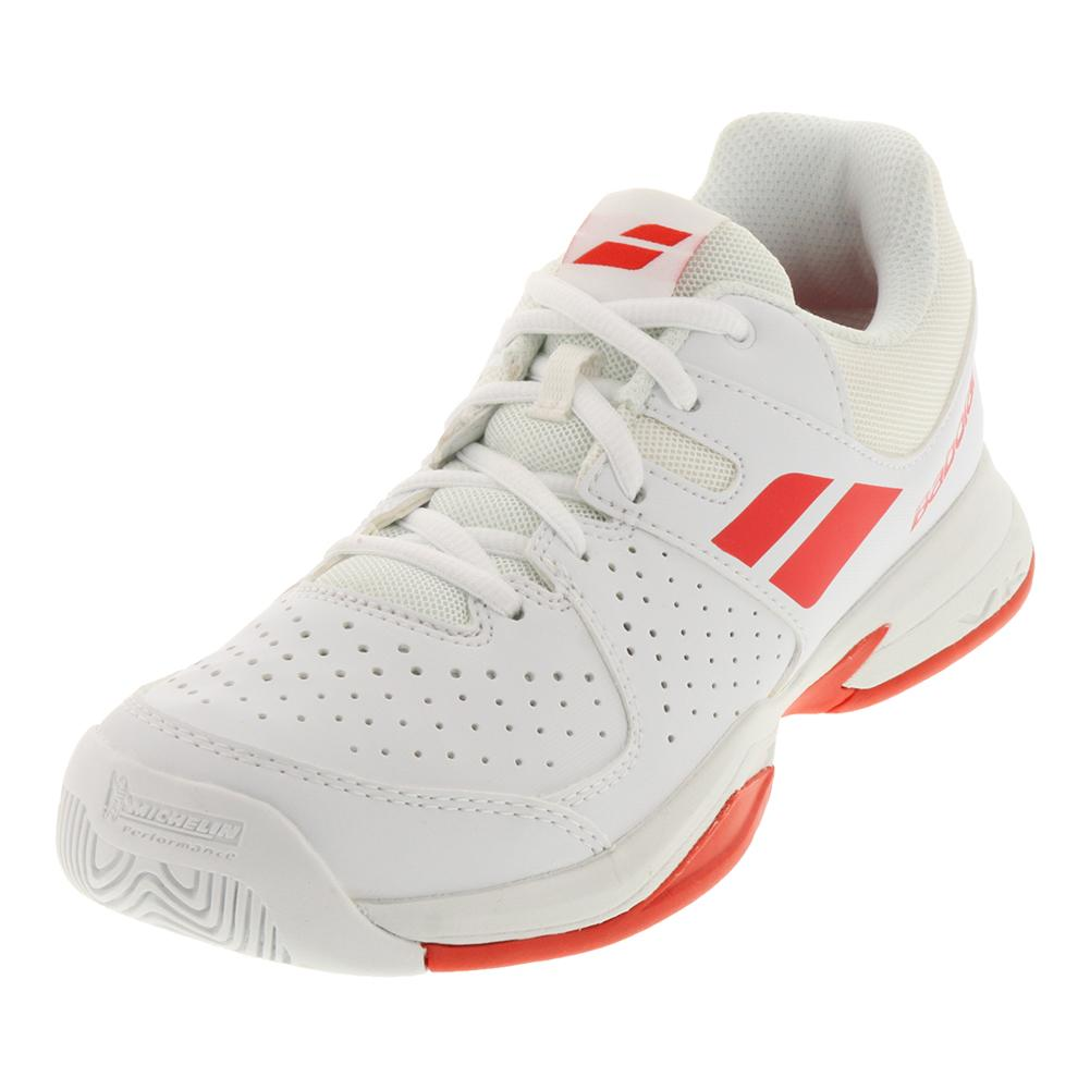 Juniors ` All Court Tennis Shoes White And Bright Red