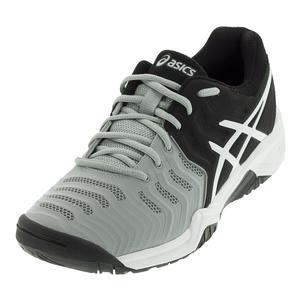 Juniors` Gel-Resolution 7 Tennis Shoes Mid Gray and Black