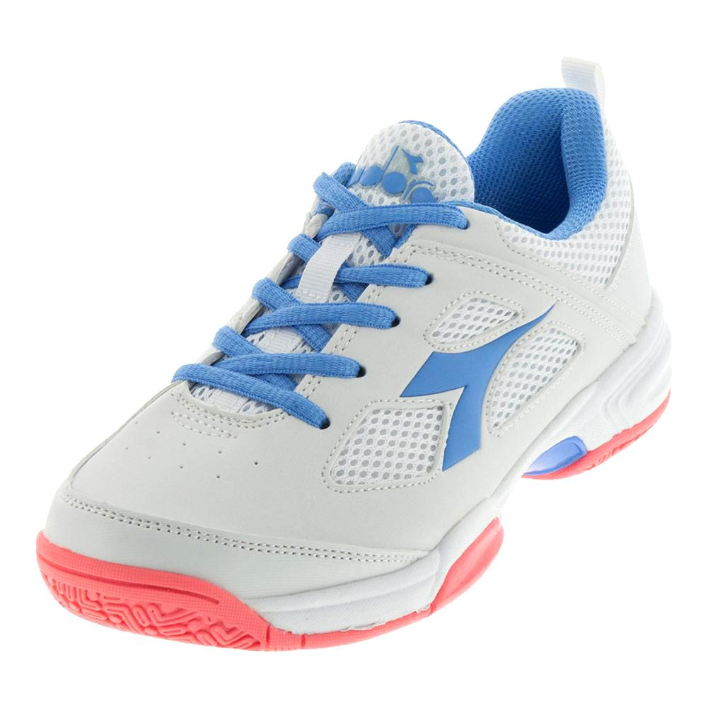 Juniors's Fly Tennis Shoes White And Iris Blue
