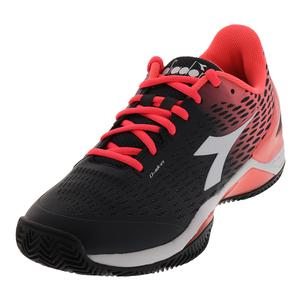 Women`s Speed Blushield 2 Clay Tennis Shoes Black and Fluo Coral