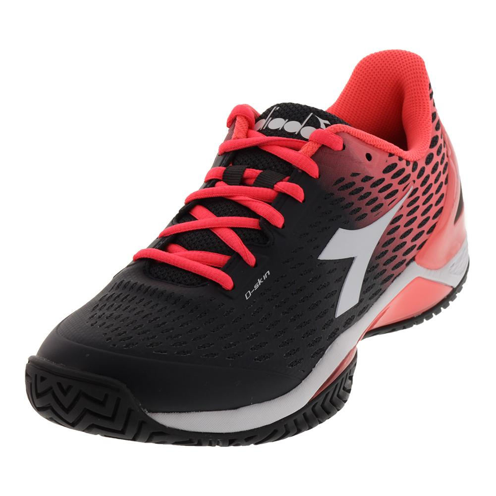 Women's Speed Blushield 2 Ag Tennis Shoes Black And Fluo Coral