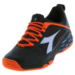 Men`s Speed Blushield Fly Ag Tennis Shoes Black and Orange Vibrant