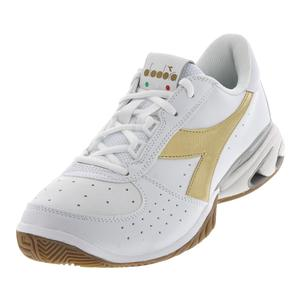 Men`s S Star K Elite Ag Tennis Shoes White and Gold