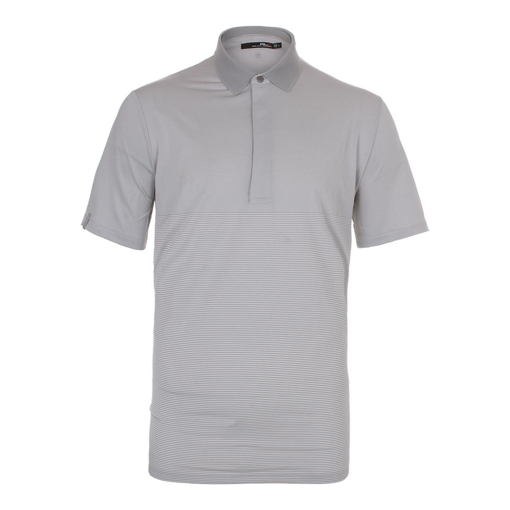 Men's Leightweight Stripe Airflow Tennis Top Pure White And Taylor Heather