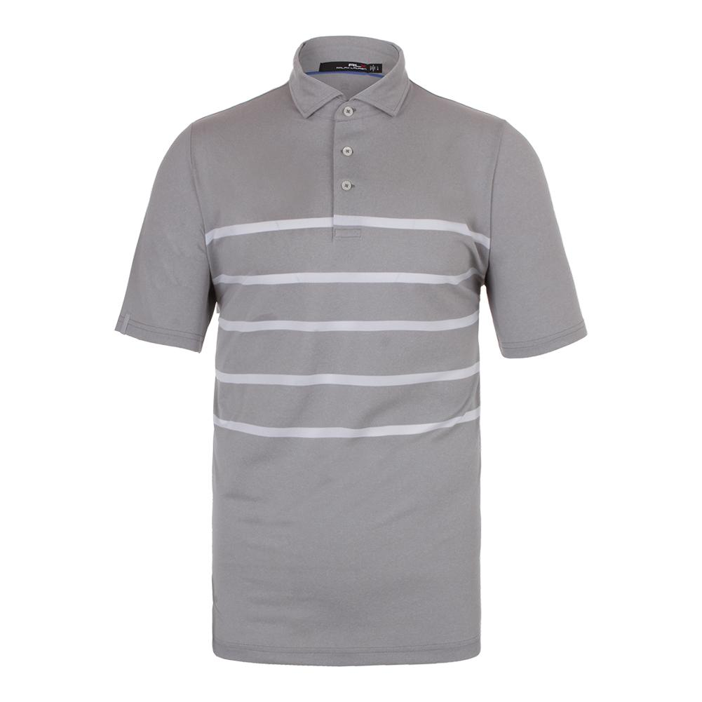 Men's Lightweight Stripe Airflow Tennis Top Pure White And Taylor Heather