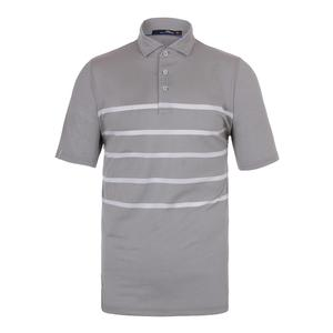 Men`s Lightweight Stripe Airflow Tennis Top Pure White and Taylor Heather