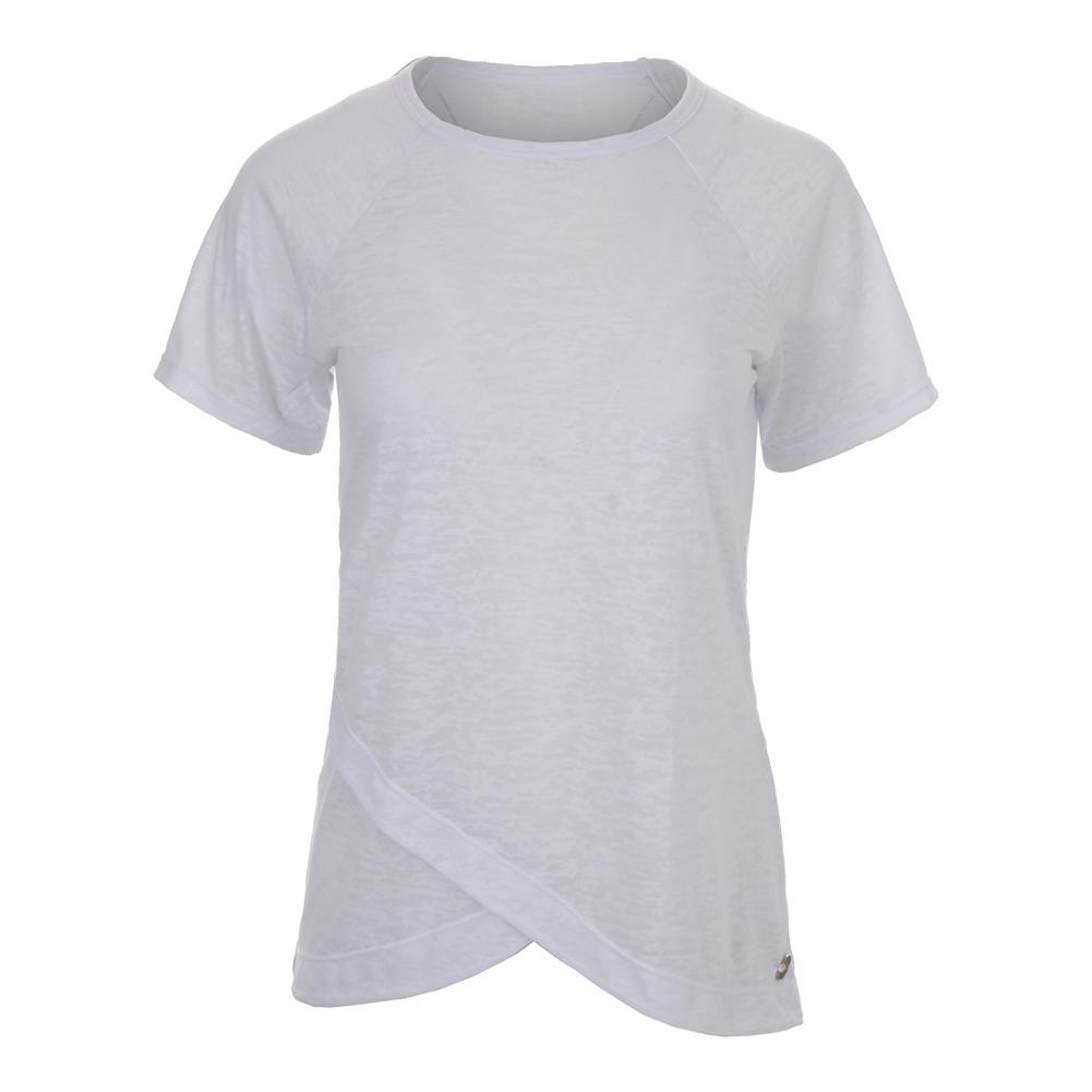 Women's Burnout Short Sleeve Tennis Top White