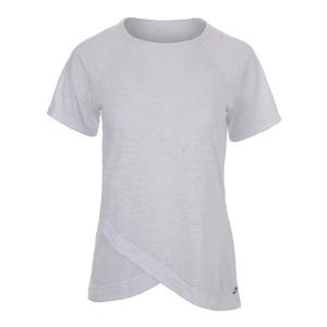 Women`s Burnout Short Sleeve Tennis Top White