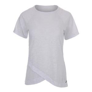 Women`s Burnout Short Sleeve Tennis Top White