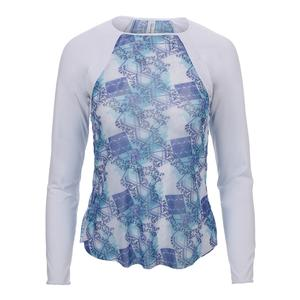 Women`s Sheer Body Long Sleeve Tennis Top Scotia Print and White