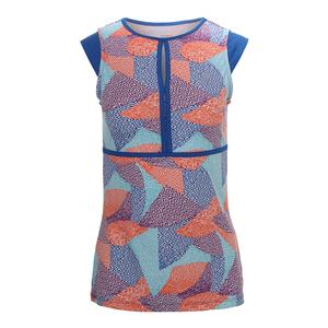 Women`s Volley Cap Sleeve Tennis Top Aztec Print