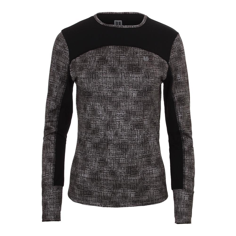 Women's Pursuit Long Sleeve Tennis Top Black Tribal