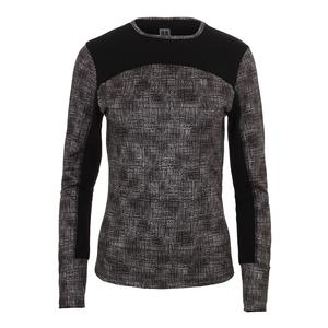 Women`s Pursuit Long Sleeve Tennis Top Black Tribal