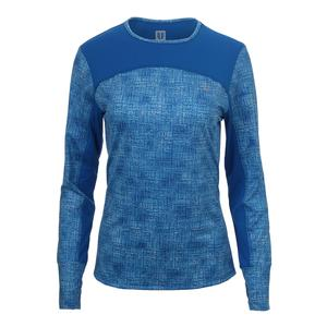 Women`s Pursuit Long Sleeve Tennis Top Blue Tribal