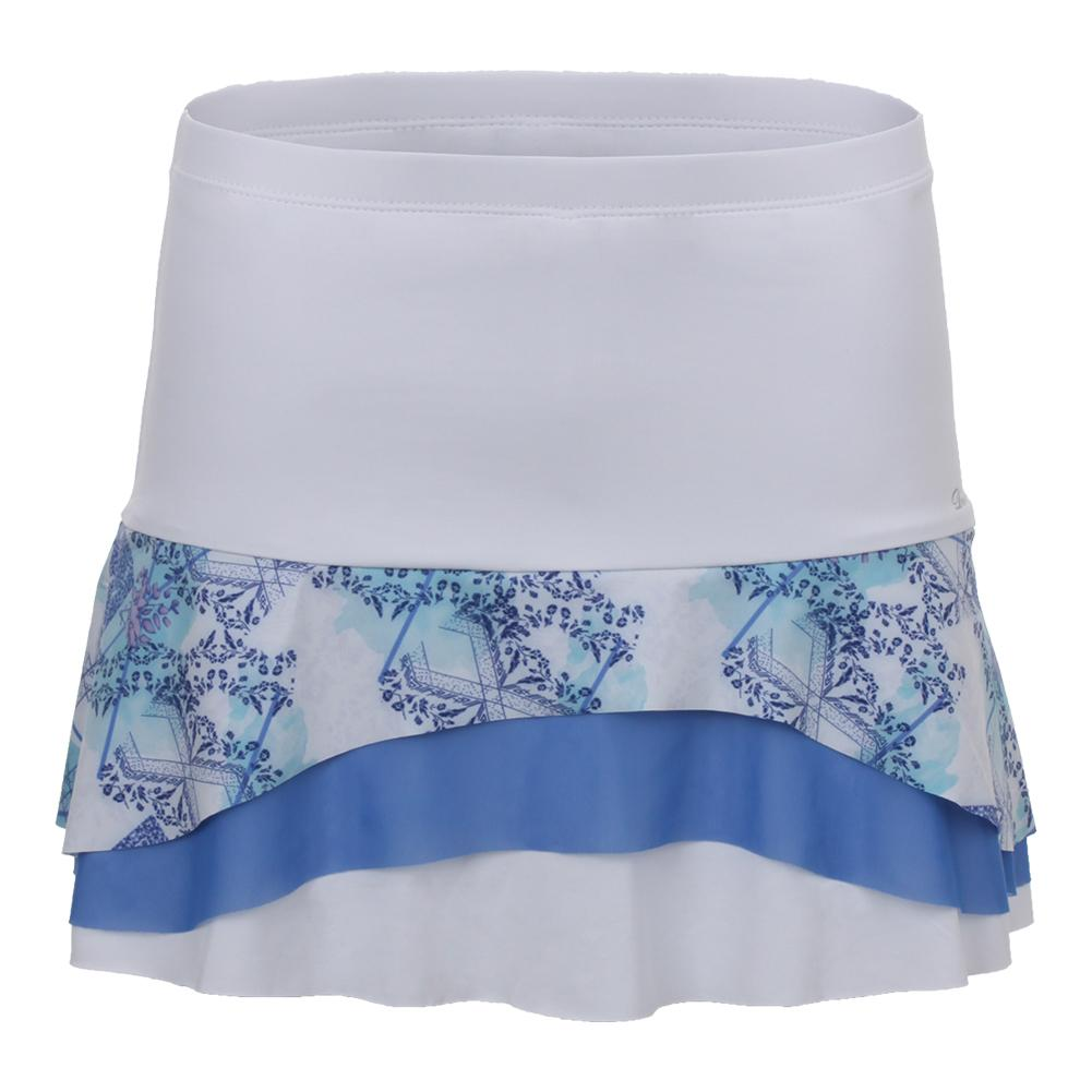 Women's Tier Tennis Skort White And Scotia Print
