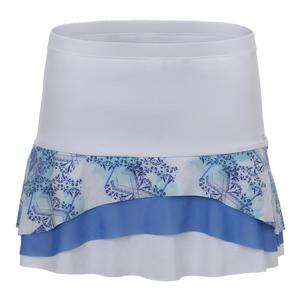 Women`s Tier Tennis Skort White and Scotia Print