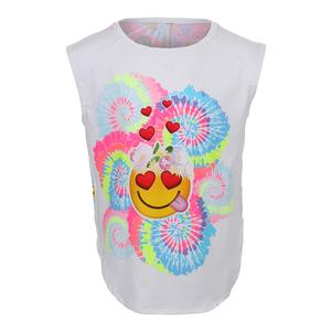 Girls` Groovy Smile Tennis Tank White