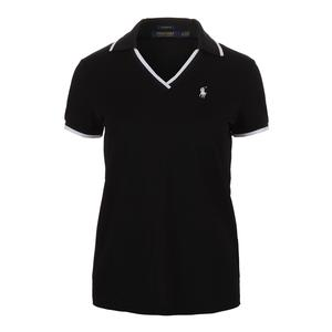 Women`s V-Neck Tennis Polo Black