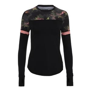 Women`s Pacer Tennis Top Black and Water Camo