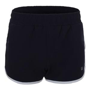Women`s Woven Practice Tennis Short Navy and White
