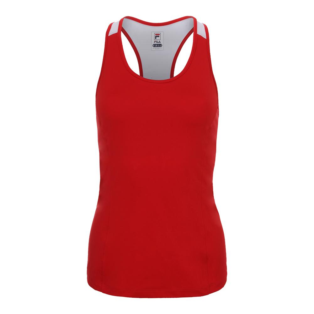 Women's Heritage Racerback Tennis Tank Chinese Red And White