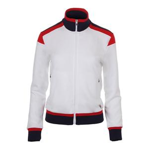 Women`s Heritage Tennis Jacket White and Chinese Red