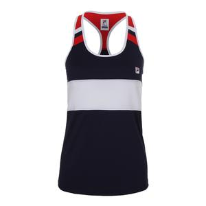 Women`s Heritage Loose Fit Tennis Tank Navy and White