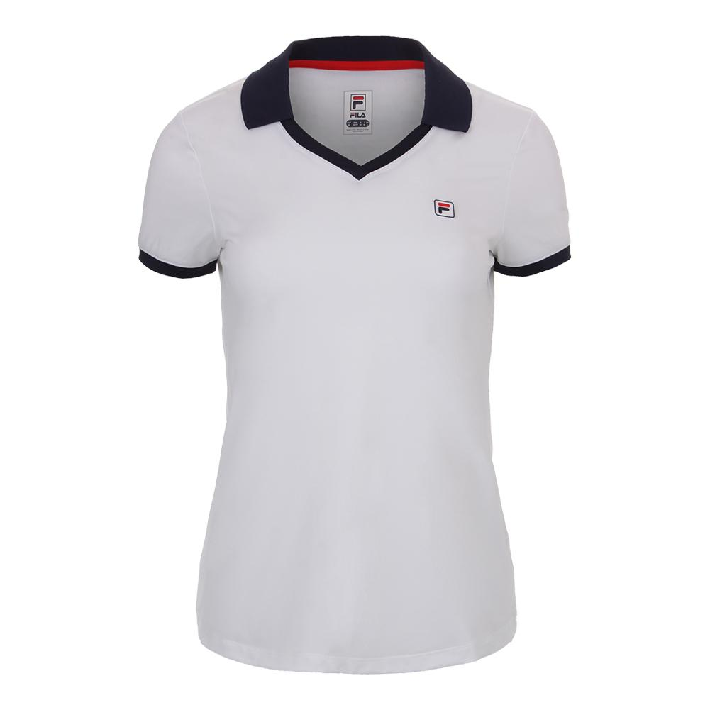 Women's Heritage Tennis Polo White And Navy