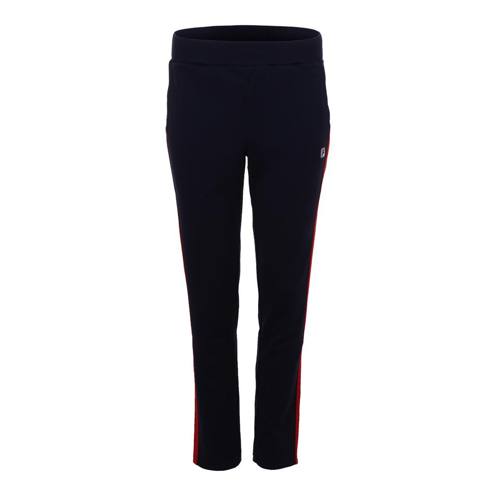 Women's Heritage Tennis Pant Navy And Chinese Red