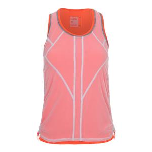 Women`s Mesh Layered Bungee Tennis Tank Orange Glow