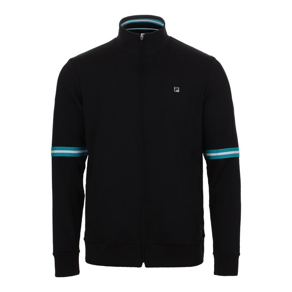 Men's Set Point Tennis Jacket Black And Lake Blue
