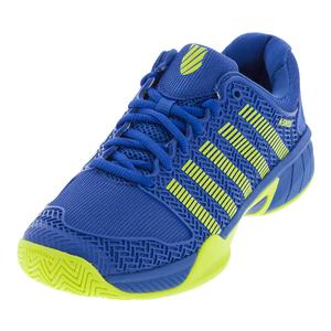 Juniors` Hypercourt Express Tennis Shoes Strong Blue and Neon Citron