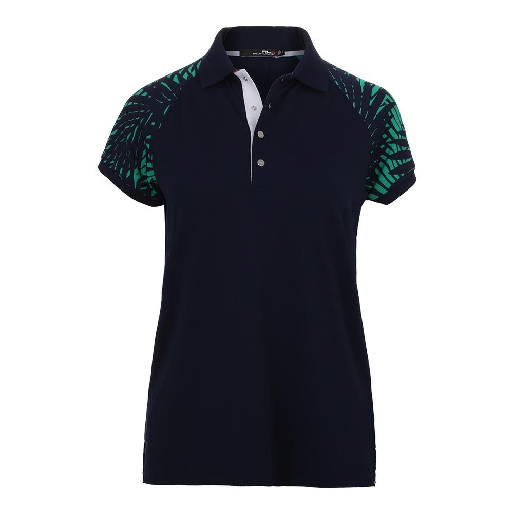 Women's Palm Print Tennis Polo French Navy