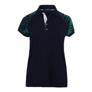 Women`s Palm Print Tennis Polo French Navy